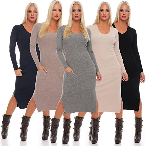 Fashion4Young - Robe - Femme blanc weiss. 36 bleu foncé