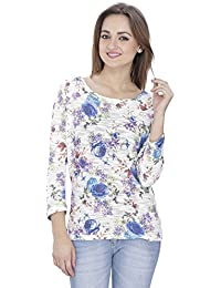 SVT ADA COLLECTIONS Poly Cotton Off-White with Multi Color Floral Printed Women TOP (021617B_Multicolor_Medium)