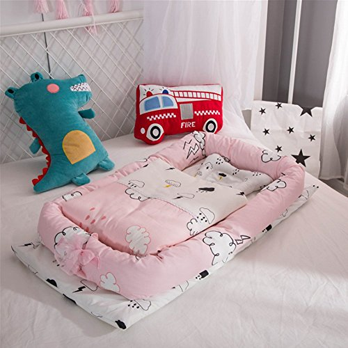 Babybett, T-Mix 100% Bio-Baumwolle / Waschbar - Neugeborenen 0-36 Monate Sicherheit Schlafsack - 3-Teiliges Set [Kissen / Quilt / Kleines Bett] (Clouds)