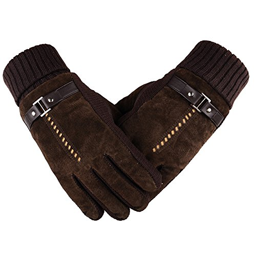 Herren Lederhandschuhe, Winter Dick Fleecefutter Winddichte Handschuhe -ideal für Sport Radfahren / Skifahren / Motorrad