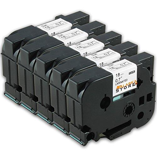 Preisvergleich Produktbild 5x Schriftband, Schriftbandkassette für Brother TZ 241 Schwarz 18mm P-Touch