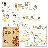 sinzau Beeswax Wrap, Involucro di Cera d'api, Involucro Ecologico Riutilizzabile, Alternativa plastica, Lavabile, 1 Piccolo, 1 Medio, 1 Grande