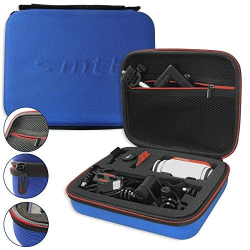 mtb more energy® Schutztasche XL für Garmin Virb Elite, X, XE / Contour Roam 3 / Ghost-S / TomTom Bandit uvm... - Blau - Koffer Case Stecksystem Modular (Bag Drift)