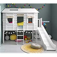 Noa and Nani - Christopher Midsleeper Treehouse with Slide - (White)
