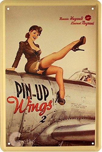 Strapsmaus militaire sexy pin up girl sur avion 20 x 30 cm en fer blanc 22