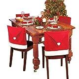 37YIMU - Feliz Navidad Santa Claus Sombrero Cubiertas de la parte posterior de la silla,Cena de Navidad Decor rojo comedor silla fundas decoración, 60 cm x 50 cm, 6 piezas un Juego