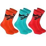 3 Paar Frottee-Skisocken Größe 39-41 BUNT ideal für Wintersportarten: wie Ski, Snowboard, Hockey, Schlittschuh, Laufen, Fahrrad, Warme hohe Socken aus Baumwolle, Schutz vor Kälte, EU-Produktion