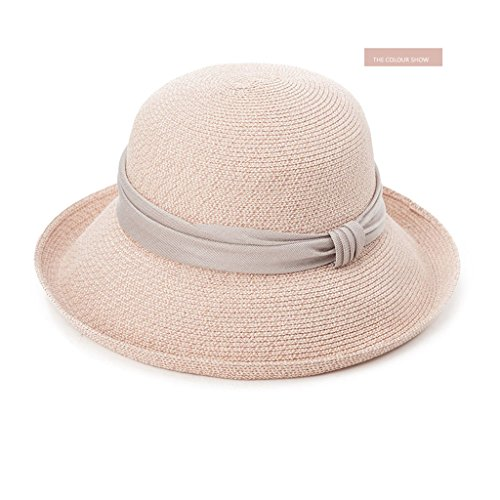GUO-Hut Frauen Sommer Trends Sonnenbaden Hut Falten Strand Mütze UV ??Schutz Große Kissen Kappe Manschetten Elegante Bowknot Falten Hut Verstellbar (Mütze Falten)