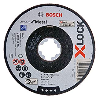 Bosch Professional Expert – Disco de corte recto (para metales, X-LOCK, Ø125 mm, diámetro del orificio: 22,23 mm, grosor:1,6 mm)