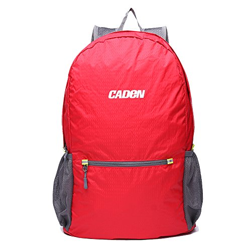 CADEN leicht verstaubarer Rucksack wasserabweisend Wandern Tagesrucksack, klein Rucksack handlich faltbar Camping Outdoor Rucksack Little Tasche rot