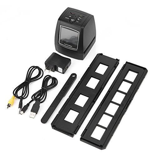 Richer-R Dia Film Scanner, 2.36Zoll TFT LCD Bildschirm 5MP/10MP Film-Scanner,USB 135/35mm Negativfilm Diafilm Scanner,Unterstützt SD MMC 32GB Speicherkarten Schwarz