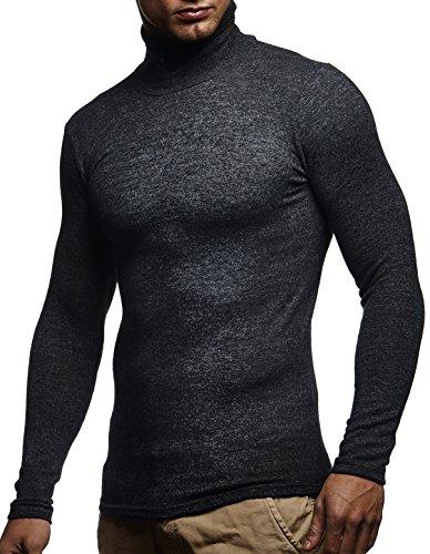 LEIF NELSON Herren Pullover Kapuzenpullover Hoodie Rollkragen Longsleeve Rollkragenpullover acke Langarm Shirt Sweatjacke LN8118; Grš§e XL, Anthrazit (Rollkragen-pullover)