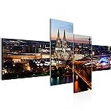Runa Art Bilder Köln Wandbild Vlies - Leinwand Bild XXL Format Wandbilder Wohnzimmer Wohnung Deko Kunstdrucke Blau 4 Teilig - Made in Germany - Fertig Zum Aufhängen 601542a