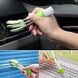 Pawaca Cepillo de limpieza para coche, extraíble, lavable a mano, para ventilación de coche, persiana veneciana y teclados y aire acondicionado (verde blanco)