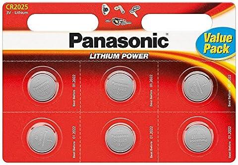 CR 2025P Lot de 6 piles bouton au lithium de Panasonic Sous blister