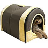 Mixse Cozy 2-in-1 Pet house and Sofa Non-Slip Dog Cat Igloo Beds 3-Size,Brown Large