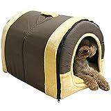 Mixse Gemütliche 2-in-1 Haustierhaus und rutschfestes Sofa für Hunde und Katze, Iglu Bett, 3 Größen erhältlich, Braun Groß