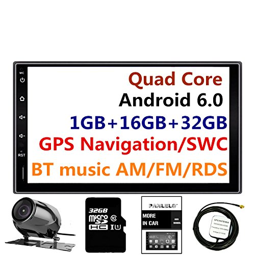 Panlelo®PA09YZ32,Navigationsgerät,in Dash 2 din 7 Zoll Full HD Touchscreen Head Unit Android 6.0 Auto Stereo Quad Core 16GB + 32GB Flash Bluetooth WiFi Backup Kamera AM/FM/RDS Radio - Car Kit Touchscreen Radio