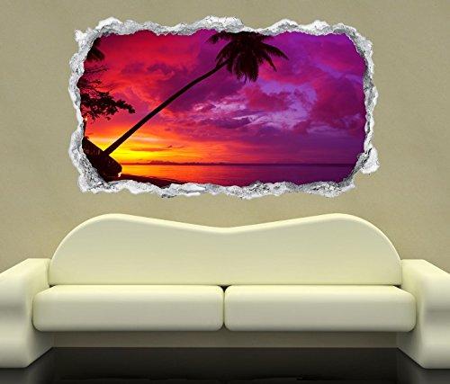 3D Wandtattoo Sonnenuntergang pink Ozean Palme Meer Wand Aufkleber Durchbruch Stein selbstklebend Wandbild Wandsticker 11N1012, Wandbild Größe F:ca. 140cmx82cm