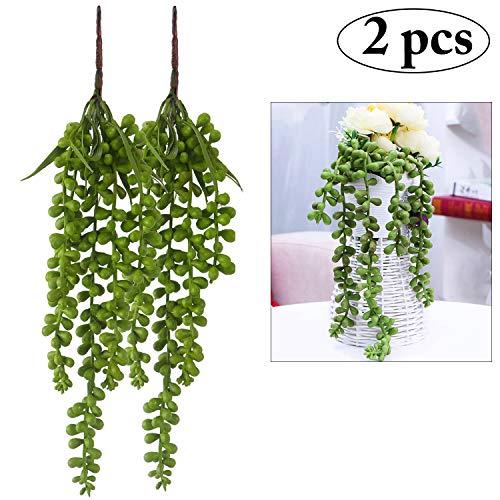 Künstliche Sukkulenten, Outgeek 2PCS Perlenkette künstliche hängende Perlenkette Pflanzen gefälschte Sukkulenten hängende Liebhaber Tränen Pflanzen hängende Basketplant (14.69 in)