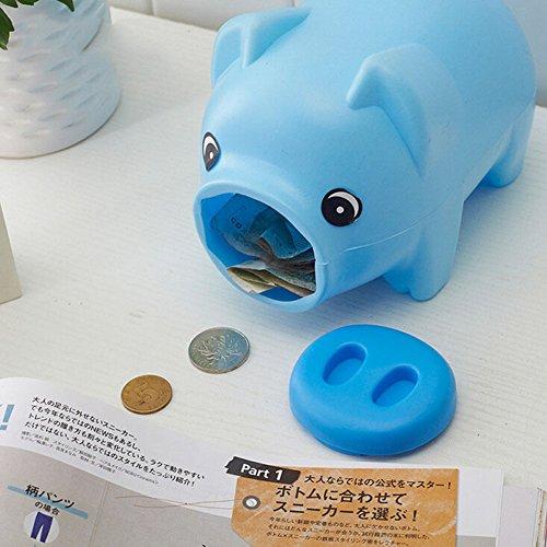 jiamins Kunststoff Spardose Münze Geld Cash Saving Box Collectible für Jungen Mädchen Kinder Pig Spielzeug Geschenk, plastik, blau, 7.48
