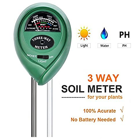 Bodentester - 3-in-1 Bodenprüfgerät mit Feuchtigkeit, PH-Wert und Lichtsensor für