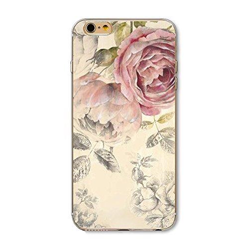 iPhone 6 ,iPhone 6s-Coque gel souple incassable anti choc avec impression motif fleurs-NOVAGO® (Pivoine Rose)
