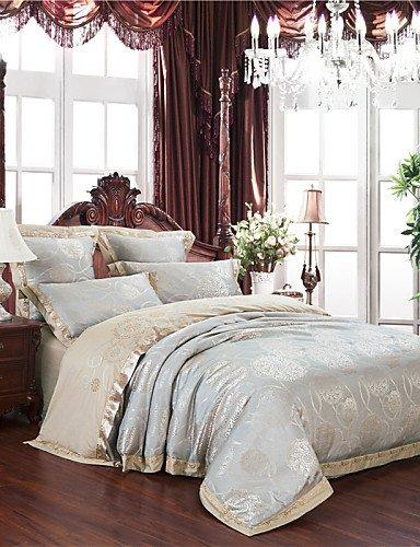 ZHUAN GAOHAIFQ®, vierteilige Anzug,Neuankömmlinge Silbergrau Bettwäsche hochwertige Geschenke Heimtextilien Glatte Note Tröster für Schlafzimmer Königin König gesetzt, King
