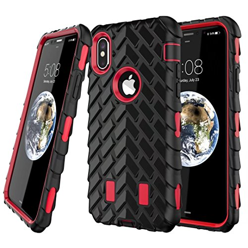 iPhone X Hülle, Lantier Dual Layer Armor Soft Rubber Hard Hybrid Tire Stripe Combo High Impact Heavy Duty Silicone Bumper Shockproof Defender Case Cover für Apple iPhone X Blau