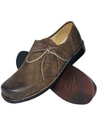 Trachtenschuhe Haferlschuhe Trachten-Schuhe Leder braun antik speckig Ledersohle Schnürschuhe Tanzschuhe Lederschuhe glatte Sohle für Tänzer Plattler zur Lederhose und zum Tanzen