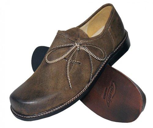 Antik-leder-schuhe (Trachtenschuhe Haferlschuhe Trachten-Schuhe Leder braun antik speckig Ledersohle Schnürschuhe mit glatter Sohle auch für Tänzer oder Plattler zur Lederhose und zum Tanzen, Größe:44)