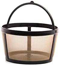 Gold Tone Reusable Basket-style 4-8 Cup Coffee Filter with Handle.