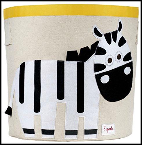 Preisvergleich Produktbild & # x272e; 3Sprouts & # x272e; Rucksack Spielzeug für Kinder 100% Baumwolle | beige, schwarz und wei–Zebra | Rucksack Spielzeug zylindrisch | Maße: 43x 43,5cm | Triple Funktionalität: Aufbewahrungskiste–Wäschekorb | sehr große Qualität, Original und Praxis