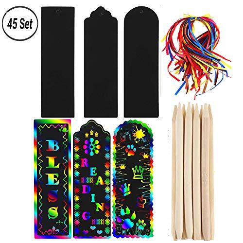 45 Set Magic Scratch Regenbogen Lesezeichen Making Kit, Scratch Rainbow Paper DIY Geschenkanhänger mit bunten Seil und Holz Stylus für Kinder Studenten Mitbringsel. -