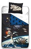 Star Wars Wende Bettwäsche Set 135x200cm + 80x80cm Biber/Flanell 838 Todesstern
