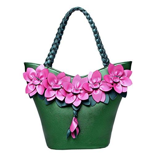 KAXIDY Damen PU Leder Handtasche Mode Umhängetasche Handtaschen Schultertaschen Grün