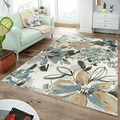 TT Home Alfombra De Comedor Moderna Motivo Floral