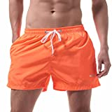 NEEKY Herren Shorts Beach Herren Shorts Badehose Quick Dry Beach Surfing Running Schwimm Shorts Herren Hosen Chino Slim Fit(M,Orange)