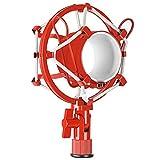 Neewer Pro Montaje de Choque de Micrófono Anti-vibración Clip Alto Aislamiento de Metal para Brazo Tijera Boom y Condensador de Micrófono, Ideal para Radiodifusión de Estudio y Grabación(rojo)