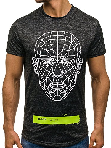 BOLF Herren T-Shirt Tee Print Slim Fit Kurzarm Party Classic MIX 3C3 Motiv Schwarz_S069