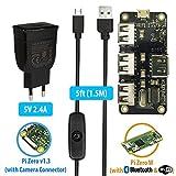 MakerSpot 4-Port Stackable USB Hub HAT Erweiterungs-Platine für Raspberry Pi Zero W / V1.3 mit 2.4A Netzteil & 1.5m Micro USB Kabel inkl. Ein-Aus Schalter