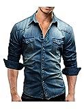 Bestgift Homme Chemise Denim Shirt Manche Longue en Jean Bleu Large