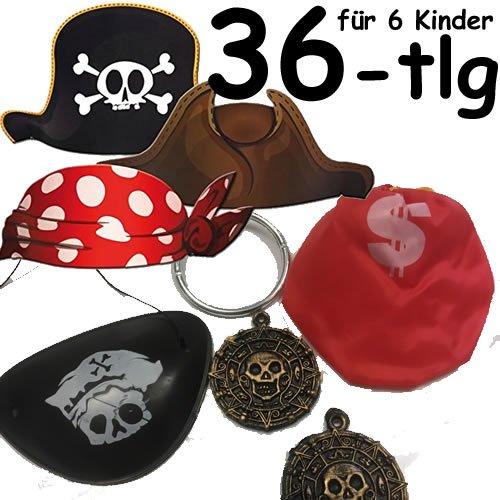 36-teiliges * KINDERPIRATEN VERKLEIDUNGS-SET * für 6 Kinder mit Piratenhüte + Augenklappen + Ohrringen + Goldsäckchen + Goldtaler // Verkleidung Piraten Party Kindergeburtstag ()