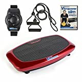 Vibrapower Slim 2 Home Fitness Vibration Plate Machine with Remote Watch, Resistance Bands + Free Body Workout DVD Vol I, Red