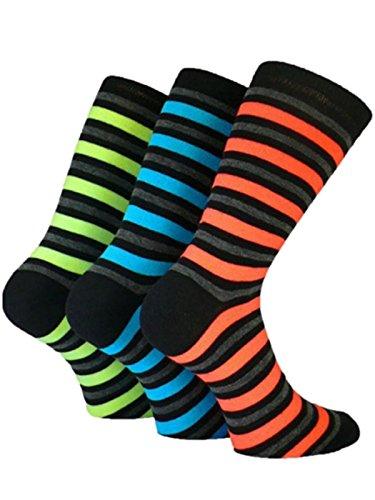 3Paar Herren Neon Rugby Stripe Teddy Boy Rock 'n 'Roll Fancy Kleid Socken/Größe UK 6-11Eur 39-45
