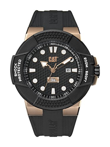 CAT WATCHES Herren Datum klassisch Quarz Uhr mit Silikon Armband SF.191.21.119 (Cat Watch Männer)