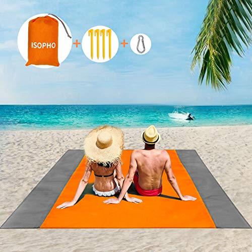 ISOPHO Picknickdecke 210 x 200 cm, Stranddecke Wasserdicht, Sandabweisende Campingdecke 4 Befestigung Ecken, Picknick/Strand Matte für den Strand, Campen, Wandern und Ausflüge