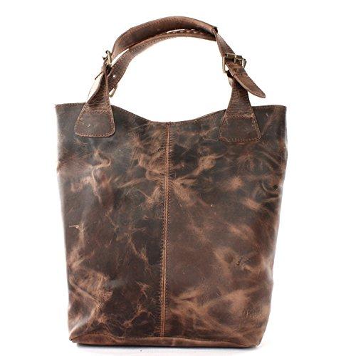 LECONI Henkeltasche Echt-Leder Vintage-Look Damentasche Handtasche für Damen Shopper für Freizeit, Büro oder Shopping Beuteltasche Frauen Ledertasche 34x35x10cm schlamm LE0033-wax -