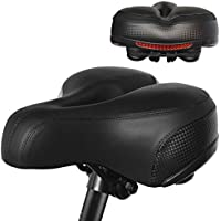 PULEN Sillín para Bicicleta Suave y Grueso Asiento Largo Cómodo de Bicicleta para Bici de Montaña Carretera Sillín con Reflector para Ciclismo Trekking Bike Seat Saddle/9 x 9.8 x 4.5 inch(Negro)