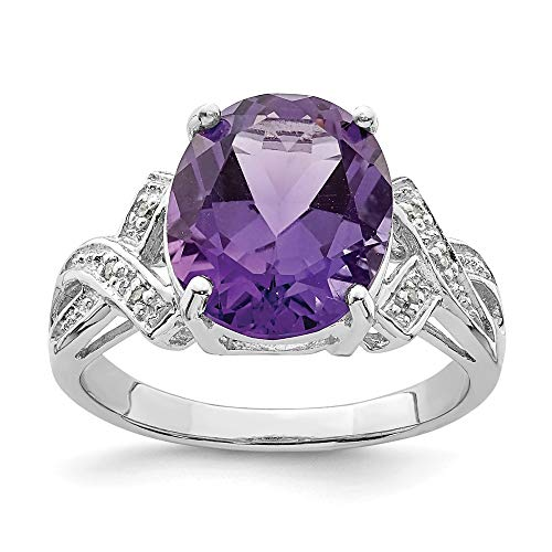Sonia Jewels - 925 Sterling Silver Engagement Ring with Simulated Purple Amethyst Birthstone (.02 cttw.) (2 mm)